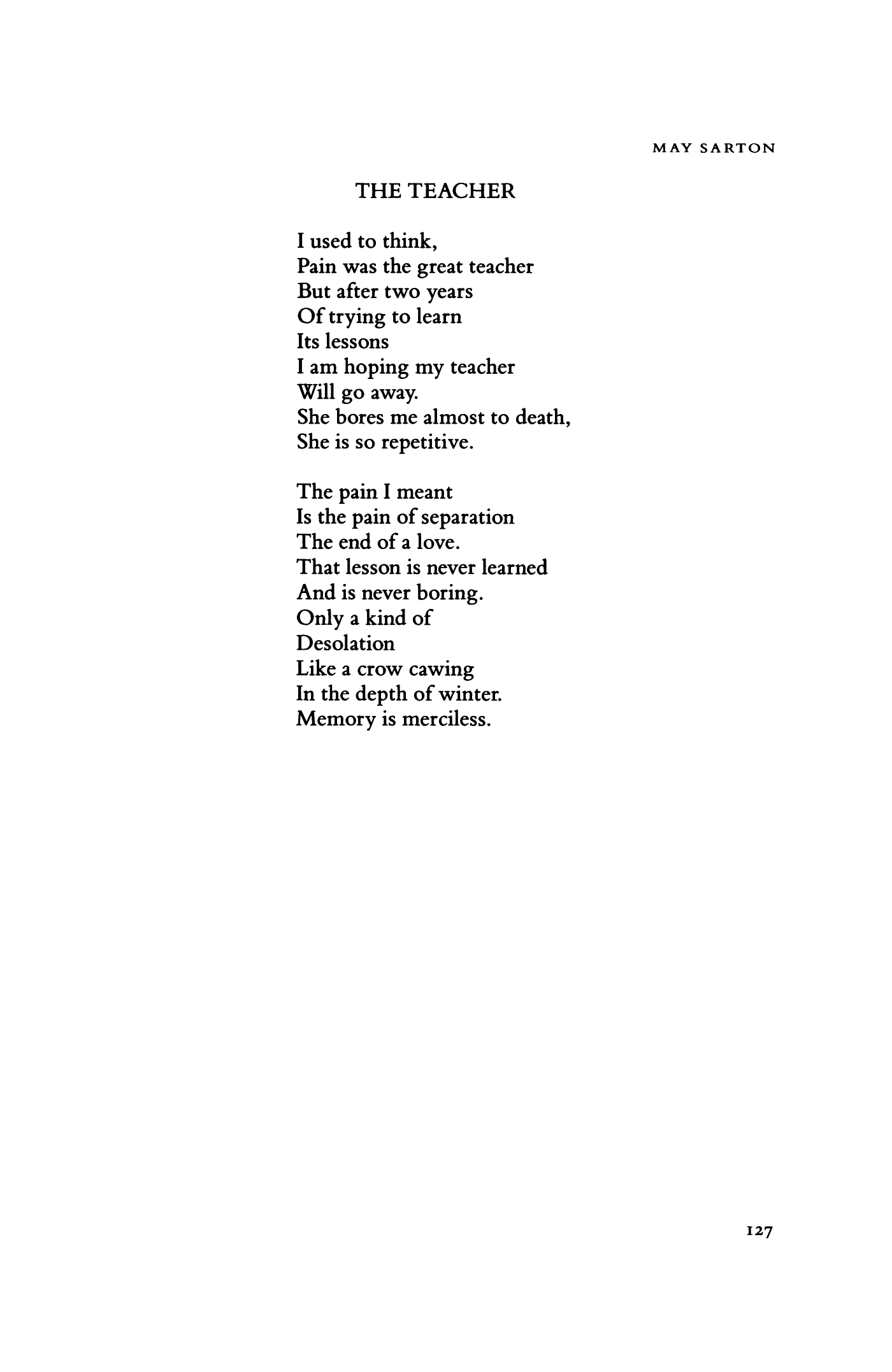 The Teacher by May Sarton   Poetry Magazine
