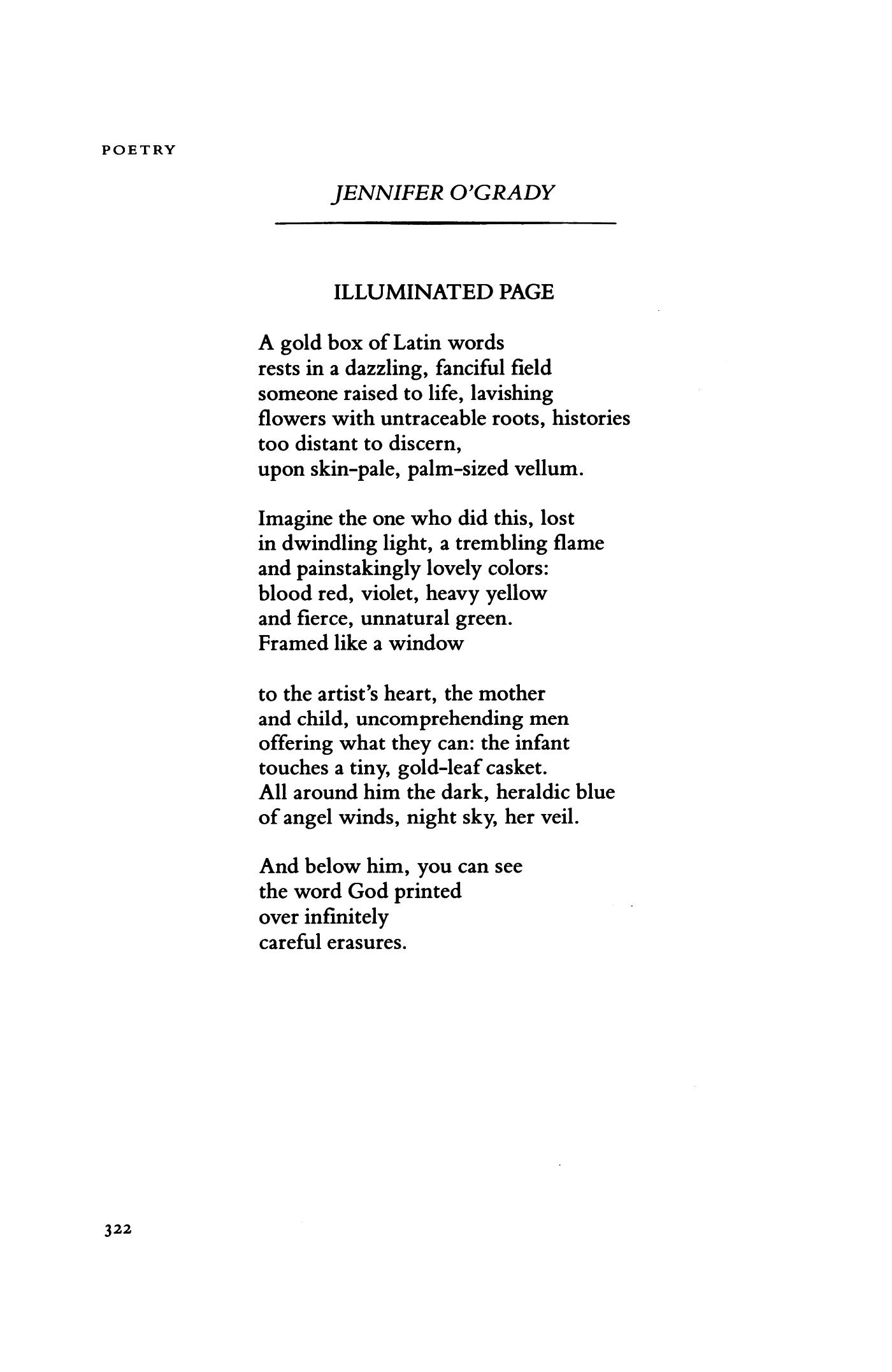 Illuminated Page by Jennifer O'Grady | Poetry Magazine
