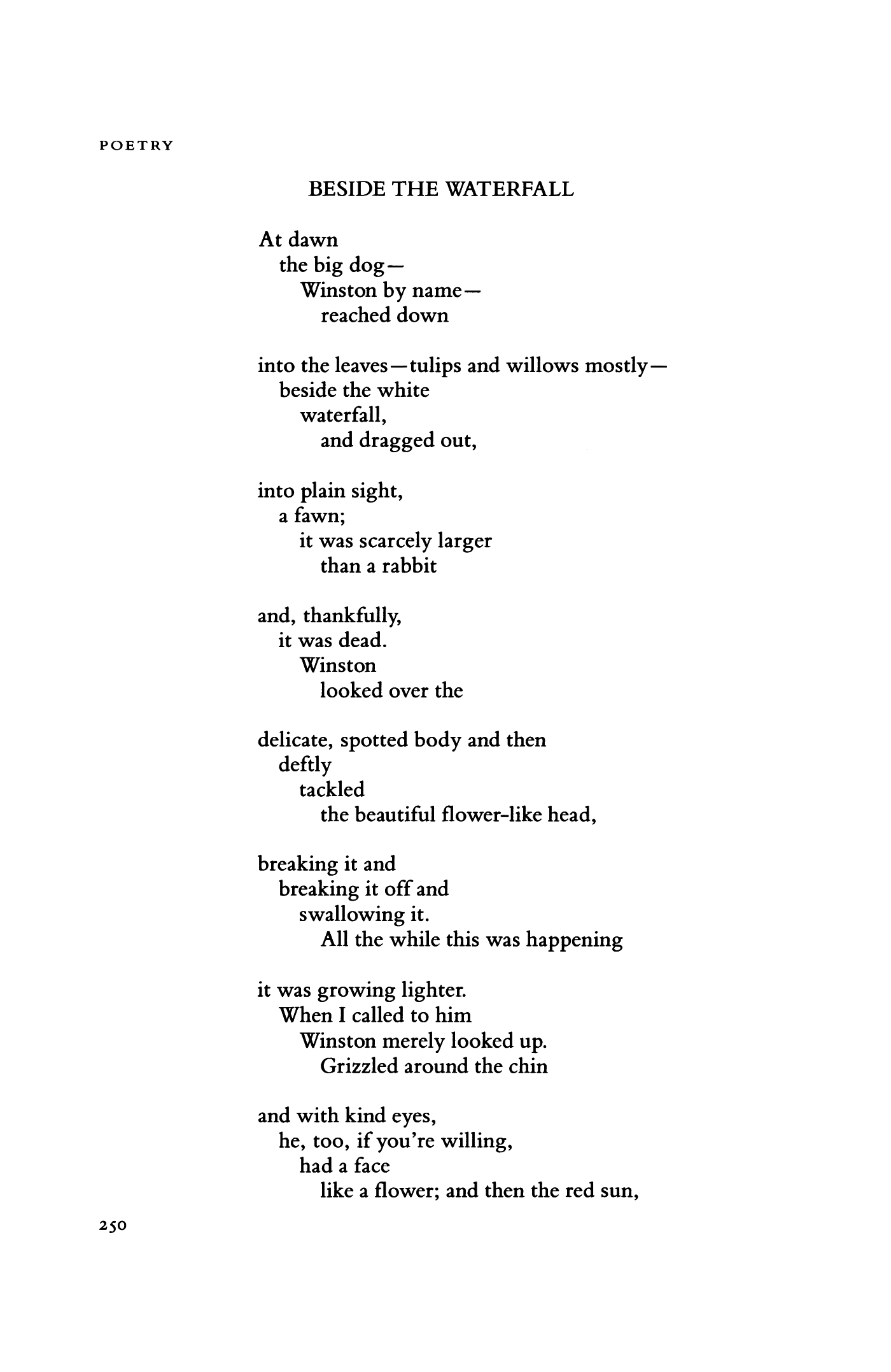 beside the waterfall by mary oliver poetry magazine