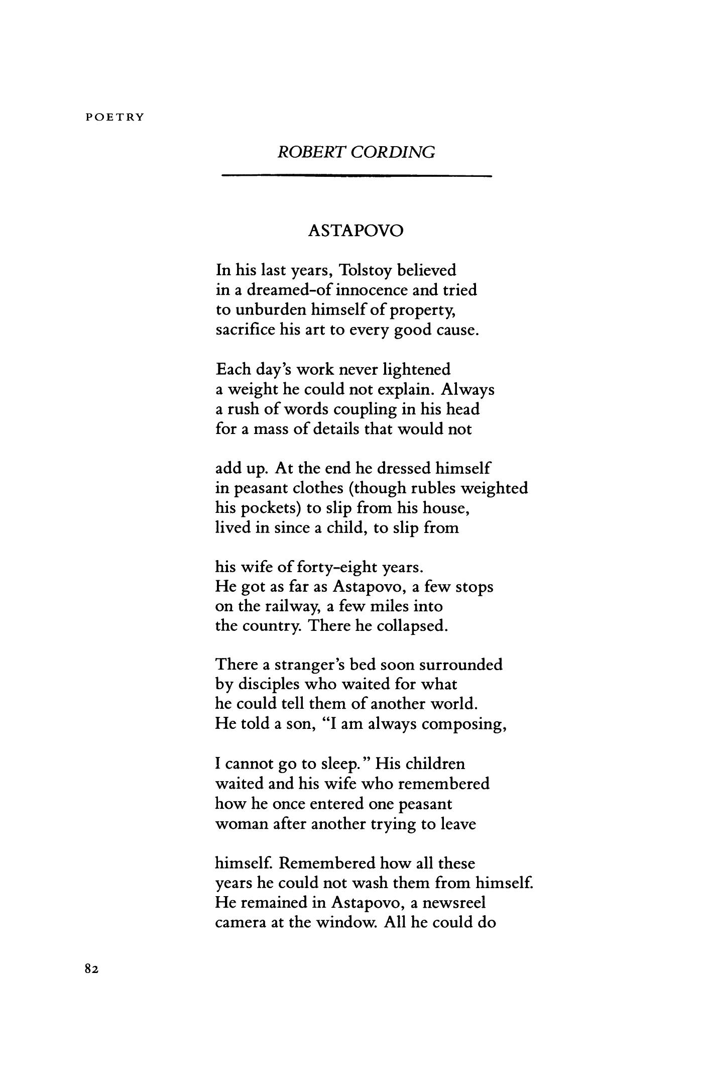 Astapovo by Robert Cording | Poetry Magazine