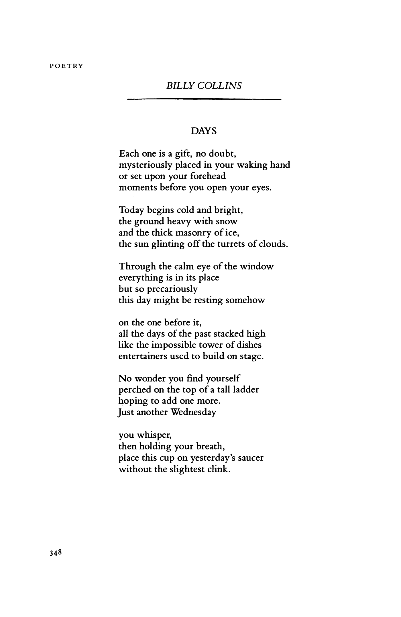Days By Billy Collins Poetry Magazine - Impossible poem
