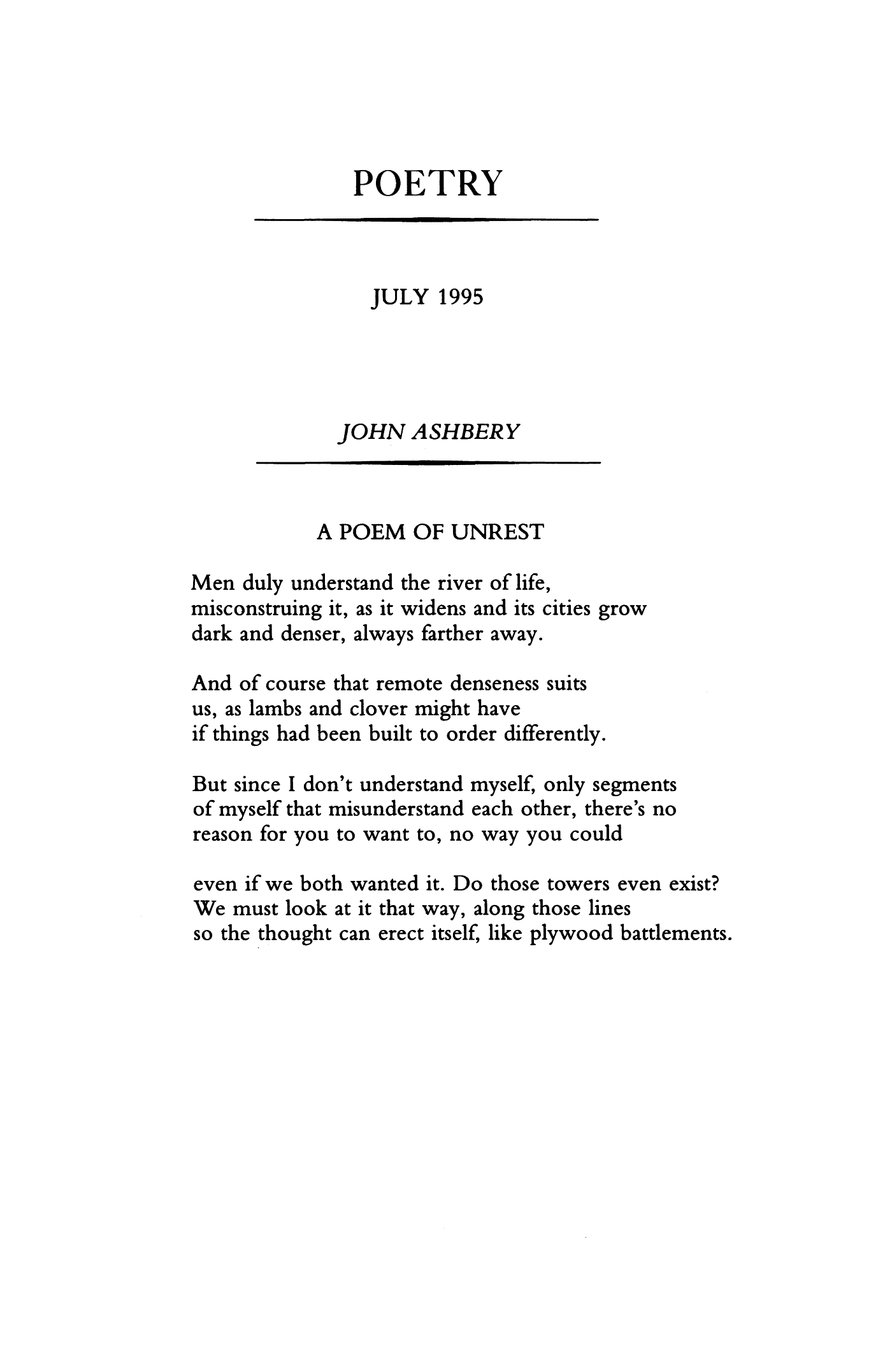 A Poem Of Unrest By John Ashbery Poetry Magazine