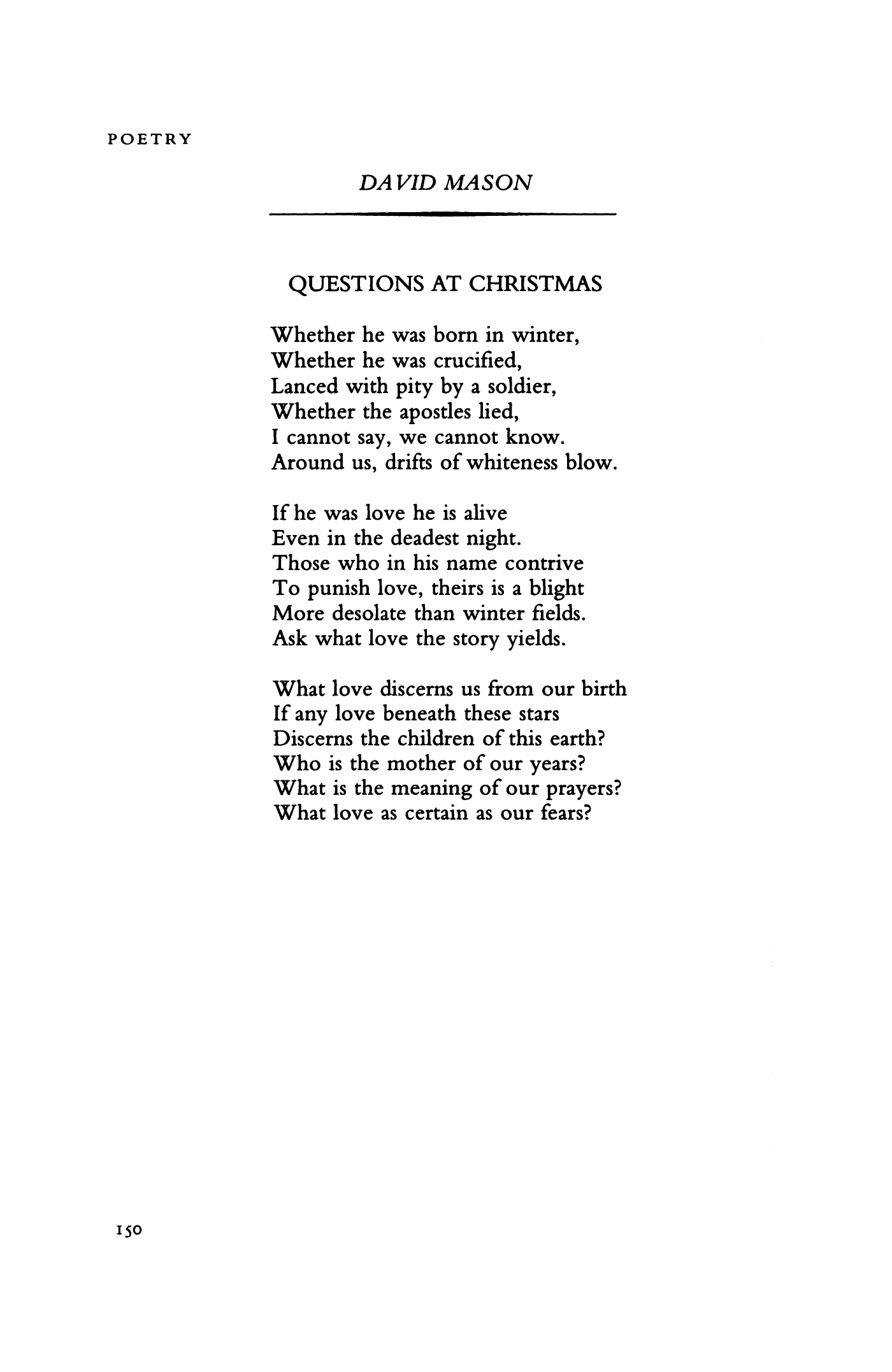 questions at christmas by david mason poetry magazine