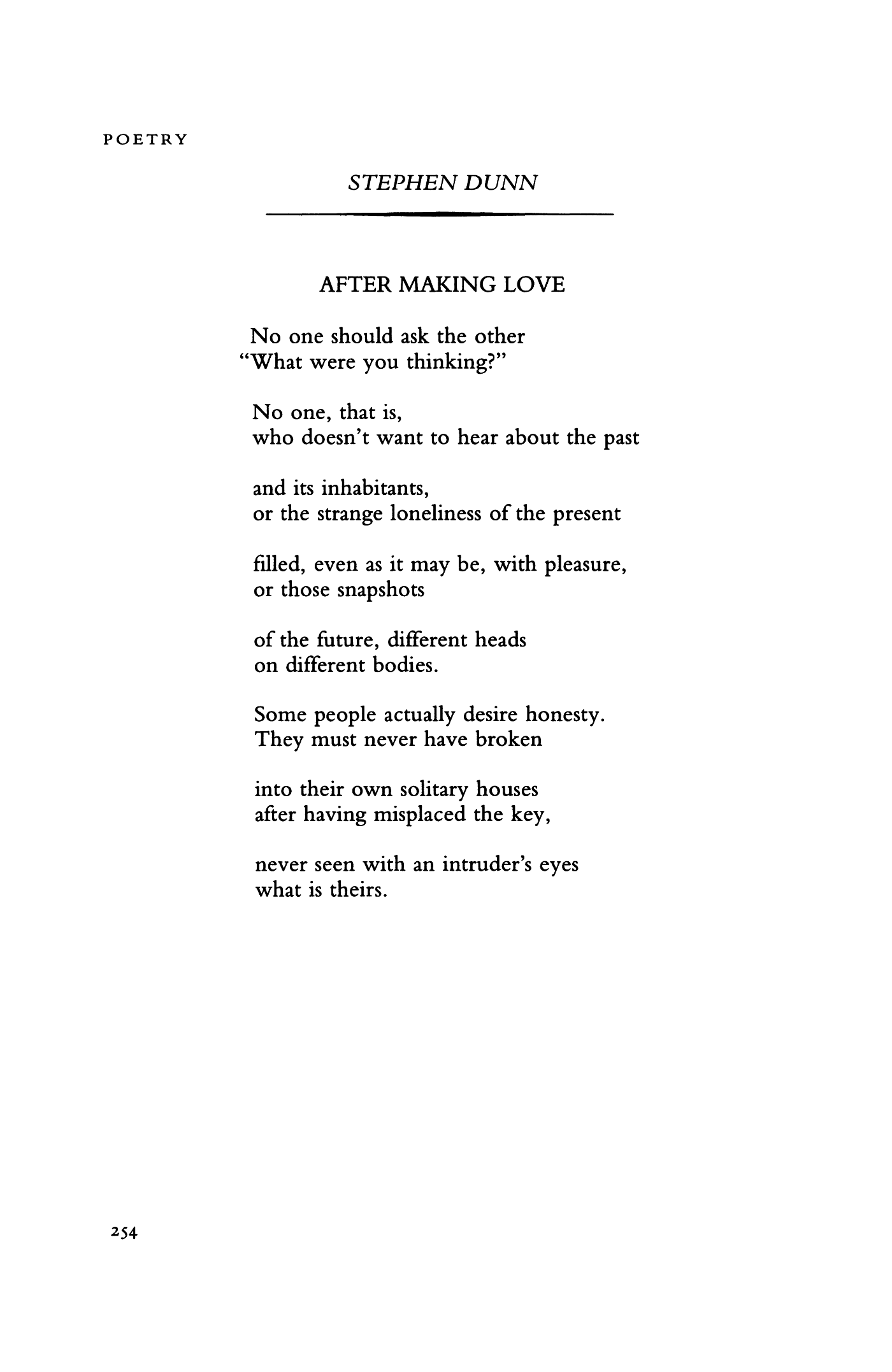 After Making Love By Stephen Dunn Poetry Magazine