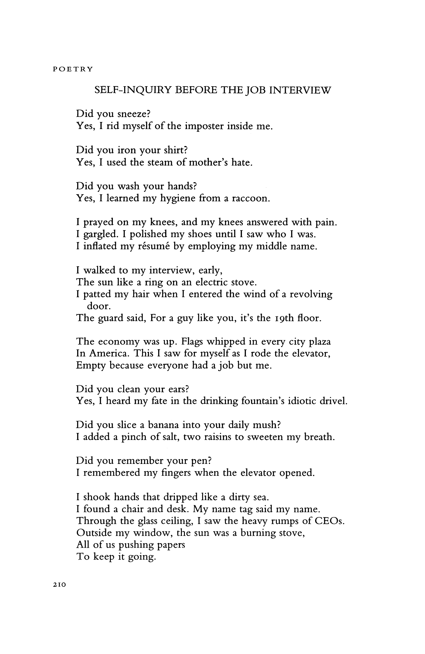 Self-Inquiry before the Job Interview by Gary Soto   Poetry