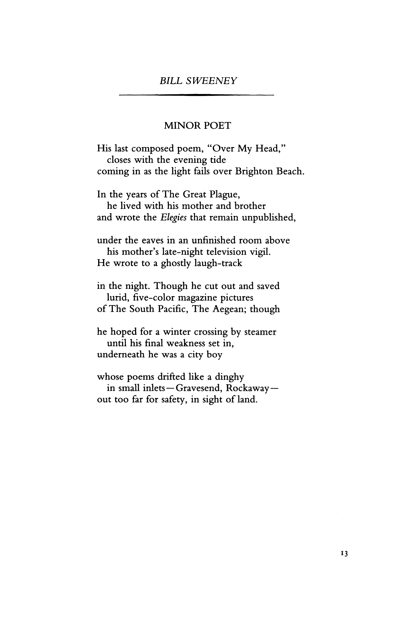 Minor Poet by Bill Sweeney | Poetry Magazine