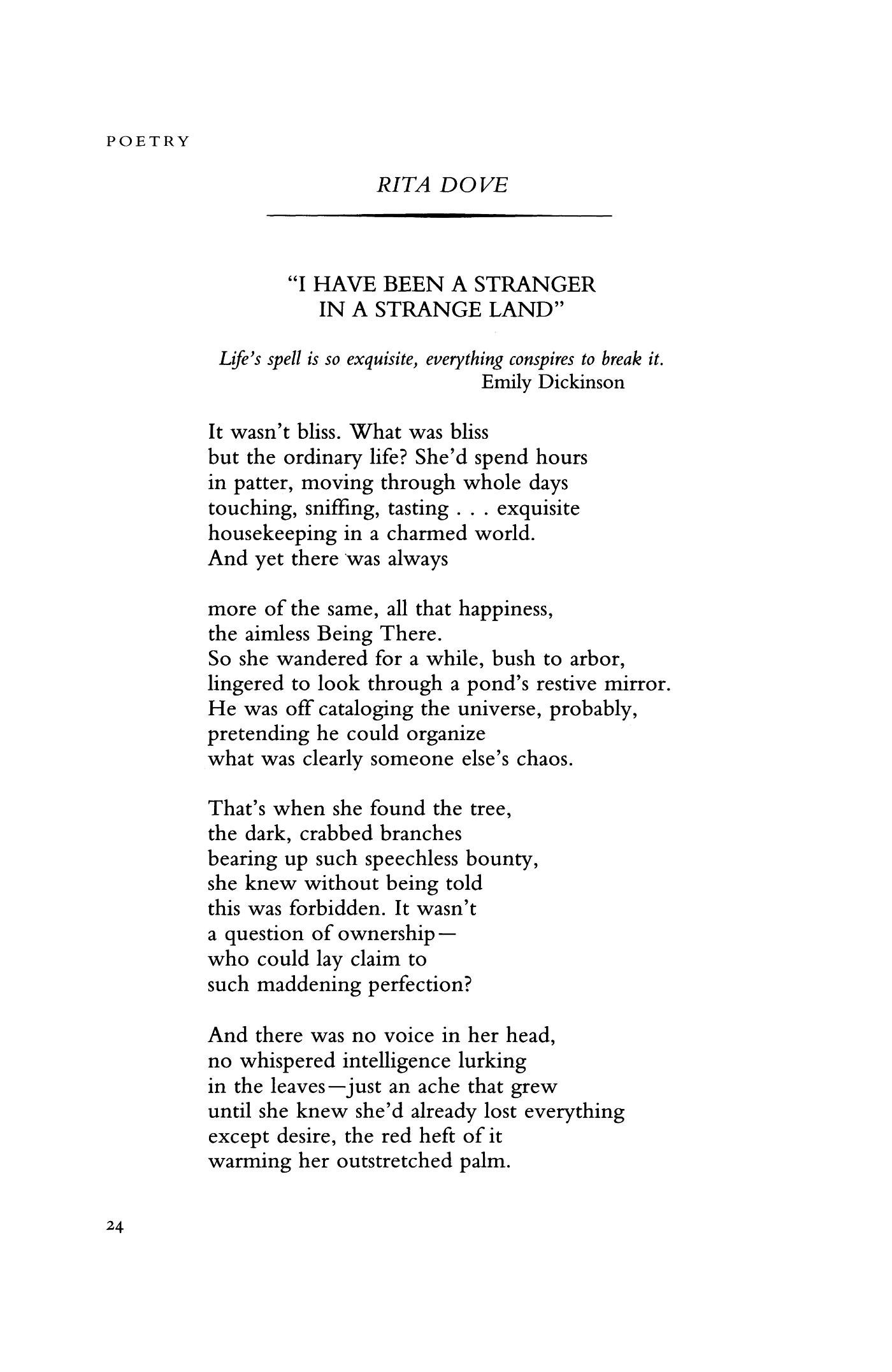 I Have Been A Stranger In A Strange Land By Rita Dove Poetry Magazine