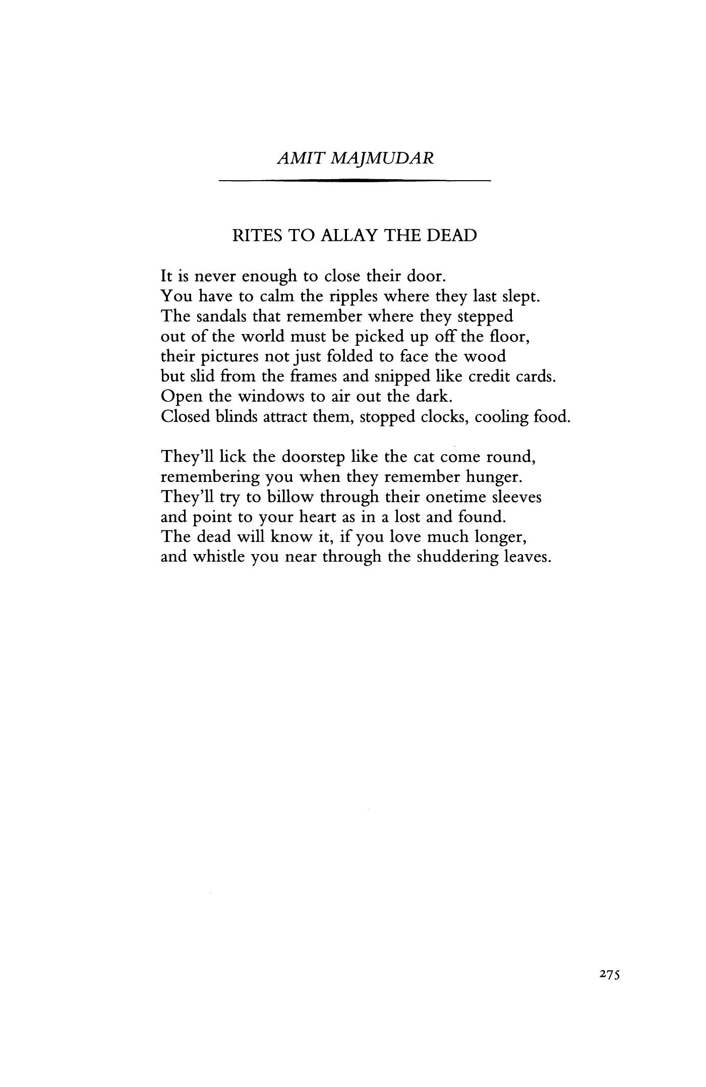 Irites to allay the deadi by amit majmudar essay