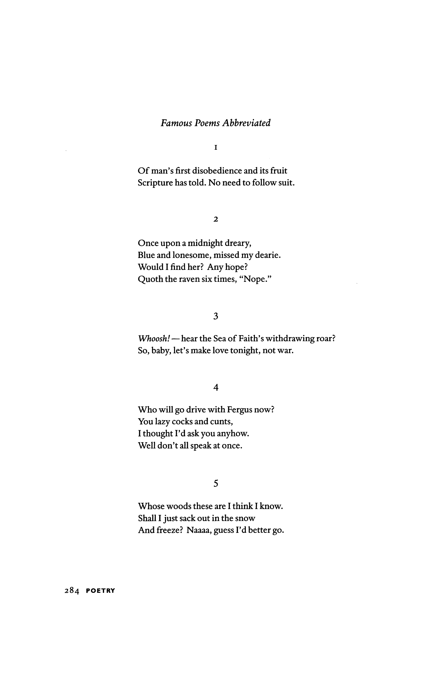 Famous Poems Abbreviated By X J Kennedy Poetry Magazine