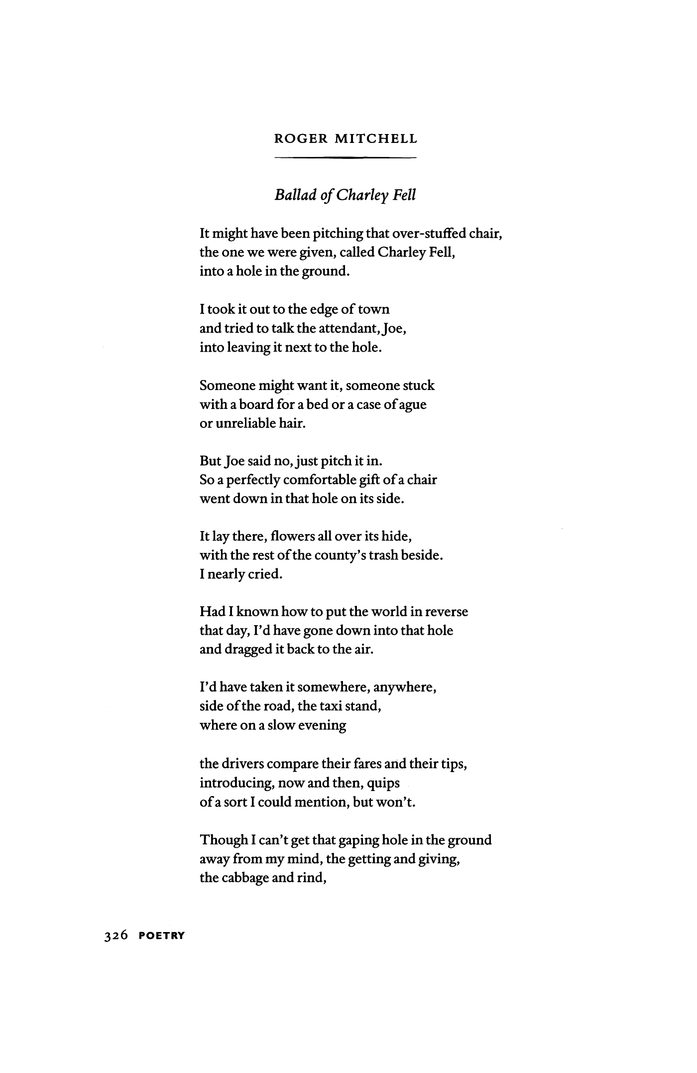 ballad of charley fell by roger mitchell poetry magazine
