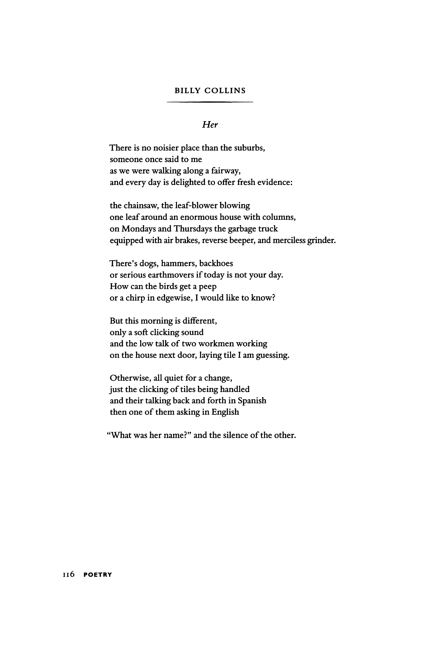 Her By Billy Collins Poetry Magazine