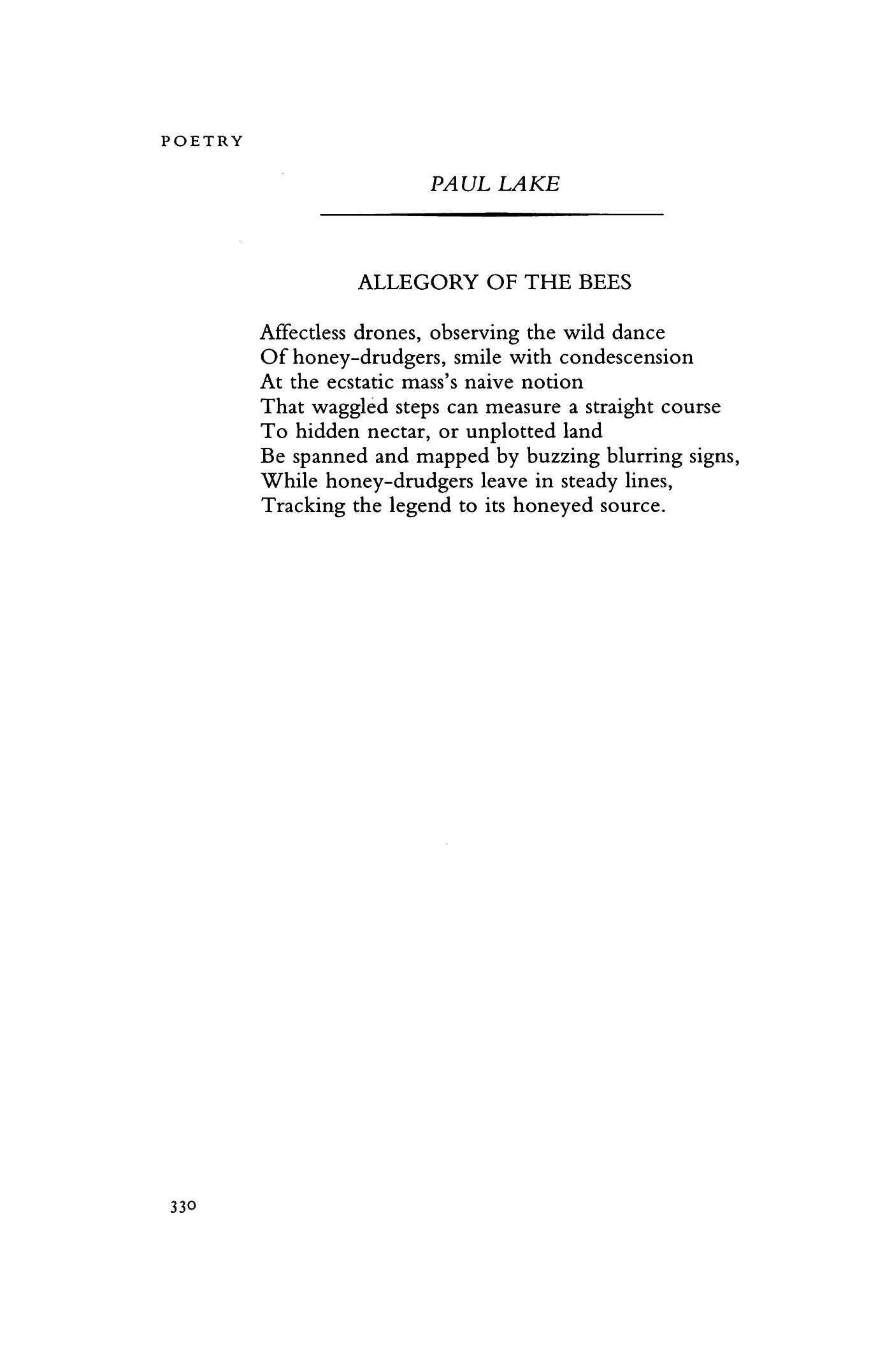 Allegory of the Bees by Paul Lake   Poetry Magazine