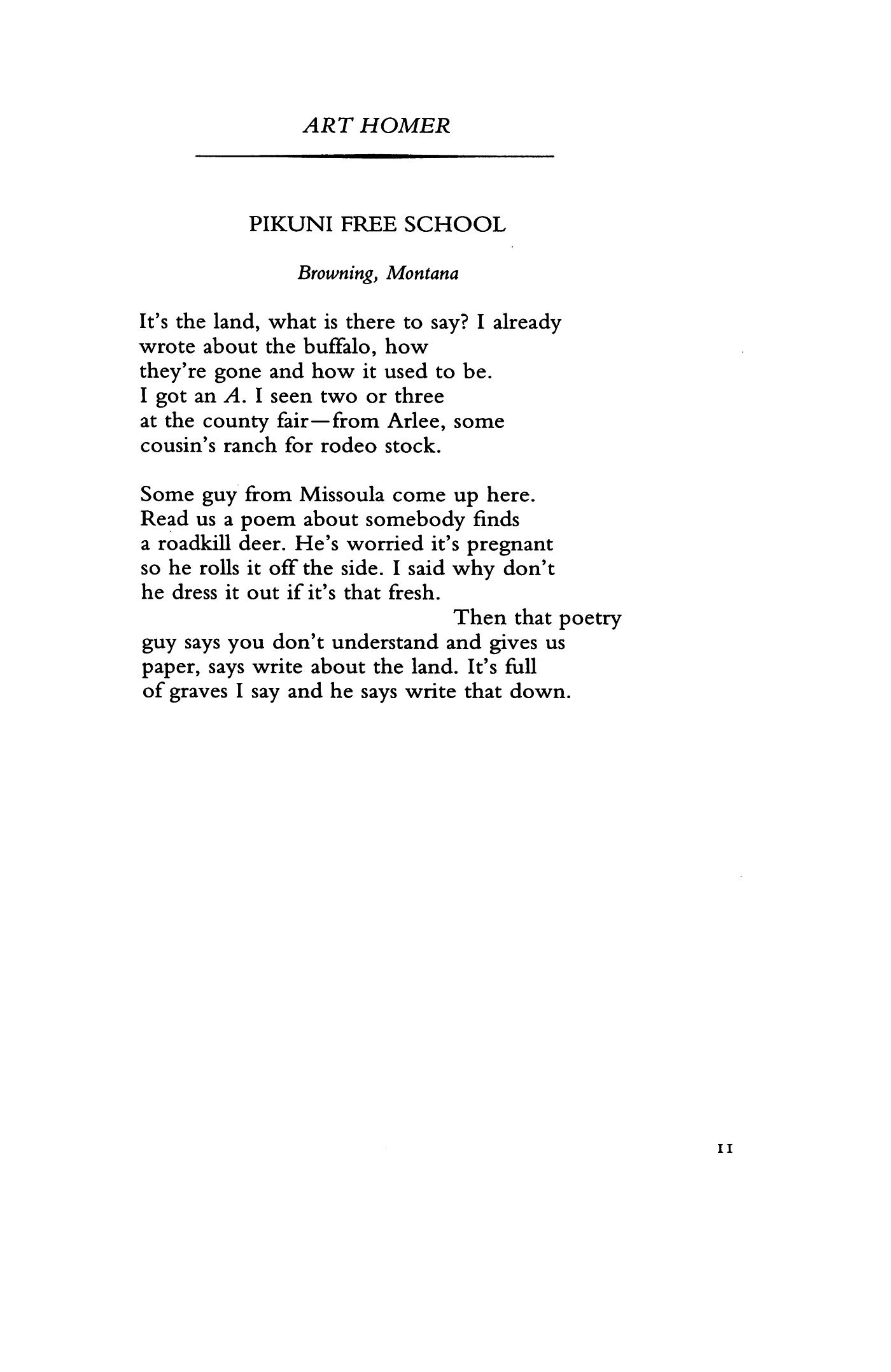 Pikune Free School By Art Homer Poetry Magazine