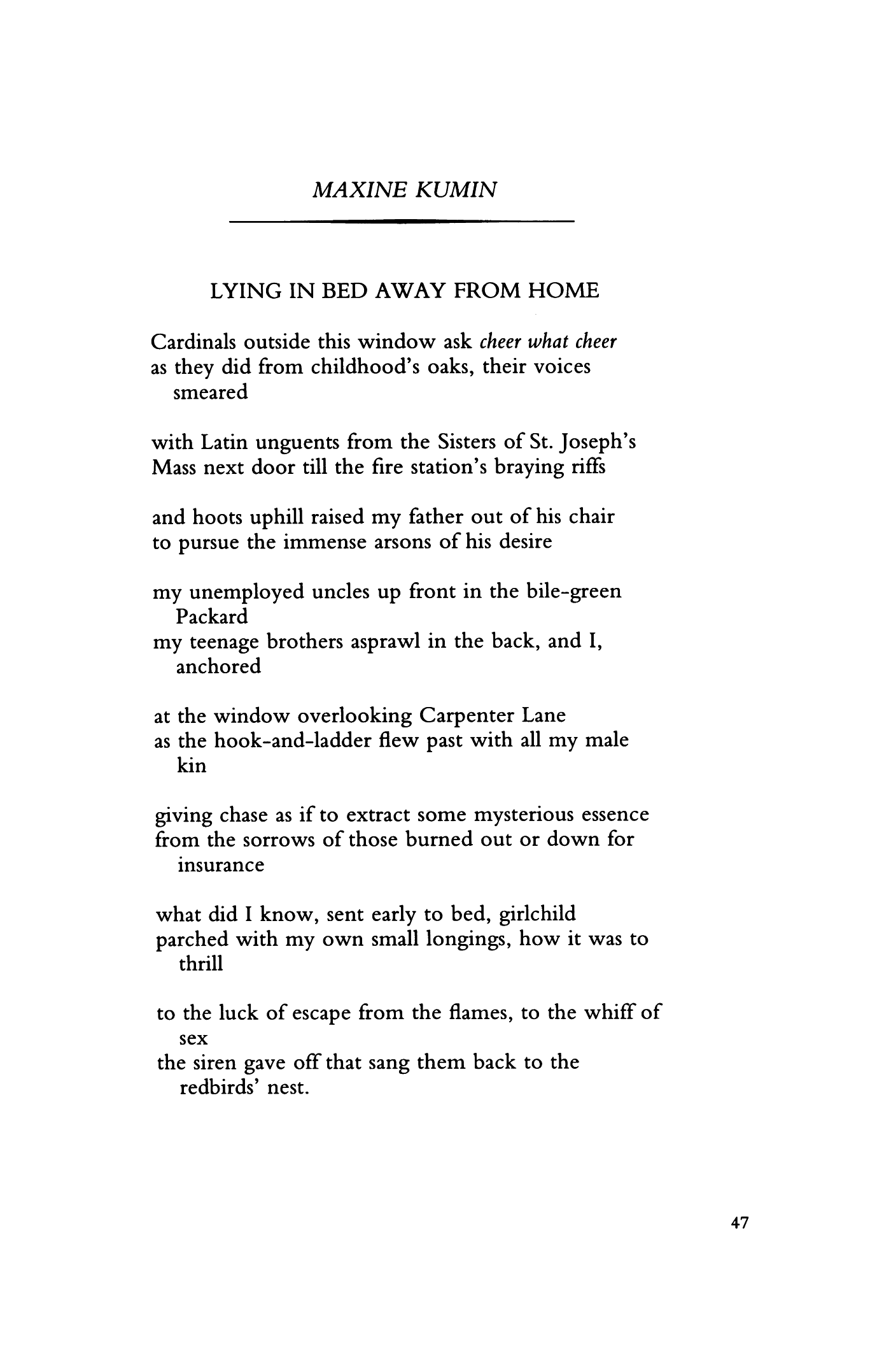 Lying In Bed Away From Home By Maxine Kumin Poetry Magazine