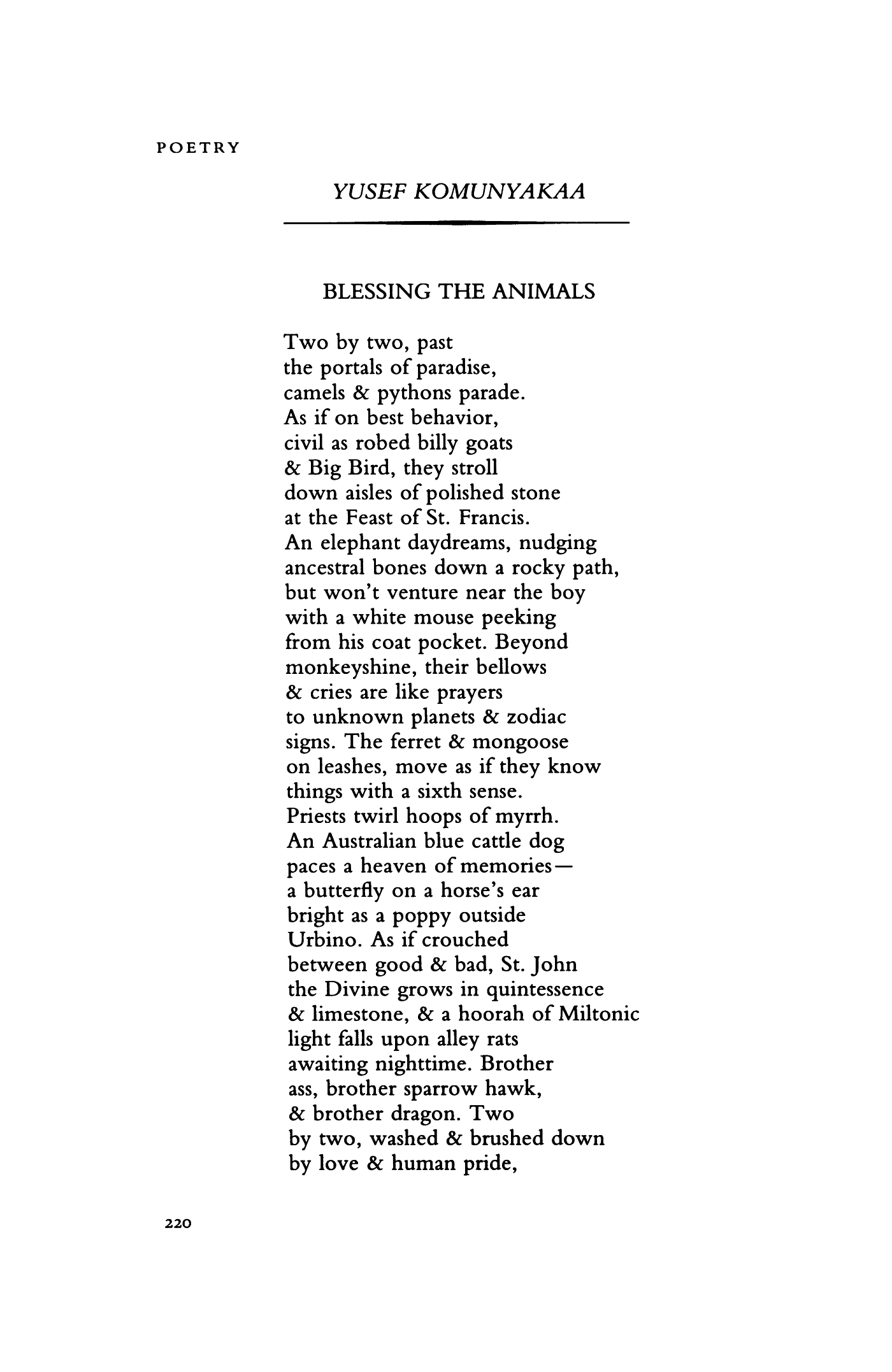 Blessing The Animals By Yusef Komunyakaa Poetry Magazine