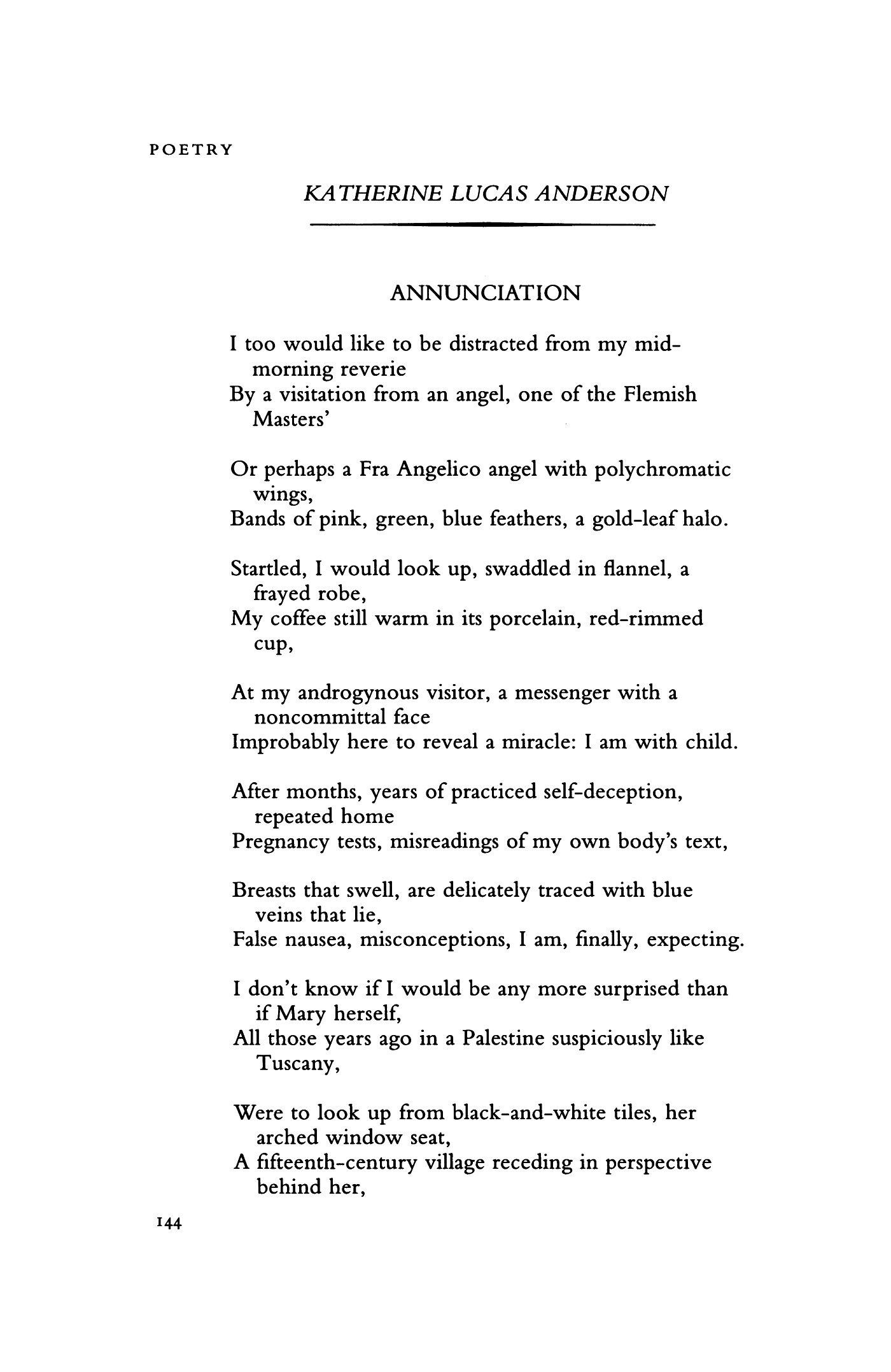 ANNUNCIATION by Katherine Lucas Anderson | Poetry Magazine