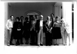 """Participants in the """"What Is a Poet?"""" symposium at the University of Alabama, October 1984. L-R: Bernstein, Vendler, Jay, Perloff, Altieri, Stern, Ignatow, Simpson, Lazer, Levertov, Burke. Photo by Gay Chow."""