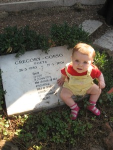 maisie at the poet's grave