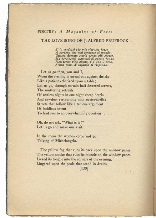 an analysis of the love song of alfred jprufock by ts eliot
