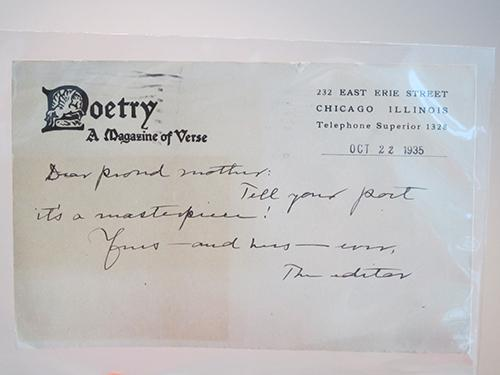 "Letter from Harriet Monroe to Marion Strobel: ""Dear proud mother, tell your poet it's a masterpiece! Yours -- and hers -- ever, the editor."""