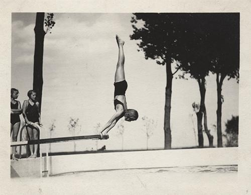 Joan Mitchell diving, August 1935.