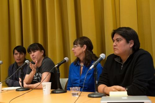 Orlando White, Natalie Diaz, Karenne Wood, and Sherwin Bitsui. Photo by Arnold Adler.