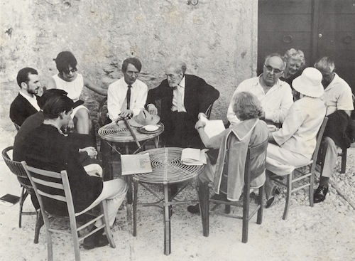 Semicircle, l. to r.: Bill Berkson, John Ashbery, John Wieners, unknown woman, Desmond O'Grady, Ezra Pound, Charles Olson, Olga Rudge (?), 3 others unknown. Settimana di Poesia, Festival of Two Worlds, Spoleto, Italy, June 1965.