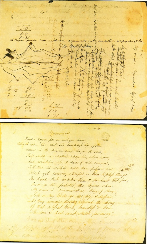 "Shelley, Manuscript of ""Ozymandias,"" 2-sides, probably late 1817, Bodlein Library, Oxford University"