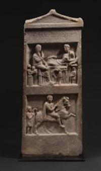East Greek Marble Stele for Dyntonomos, 3rd-2nd Century BCE, 30 1/2 in. high.