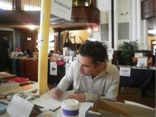 Kaplan Harris me transcribing kari edwards manuscripts for the Scriptorium project at David Hadbawnik's Habenicht Press table.