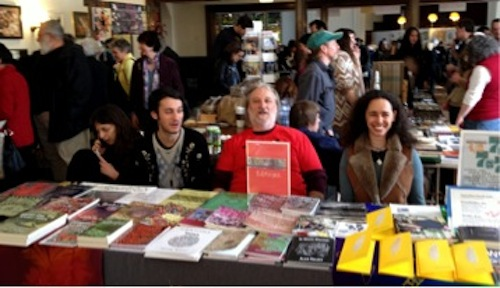 Ursala Sommer, Zon, mIEKAL aND, and Robin Brox at the Xexoxial Editions table.