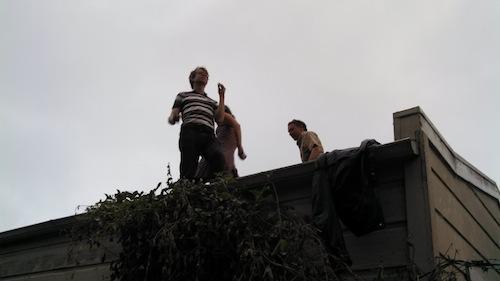 Andrew Kenower on David Buuck's garage's roof