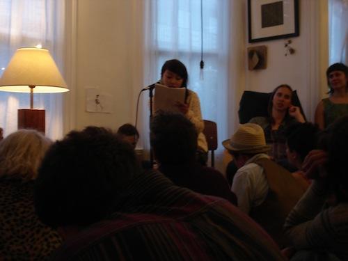 Uyen Hua reading at Juliana Spahr's house