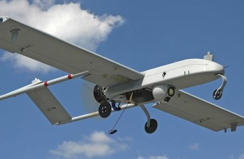 """An unarmed U.S. """"Shadow"""" drone is pictured in flight in in undated photograph"""