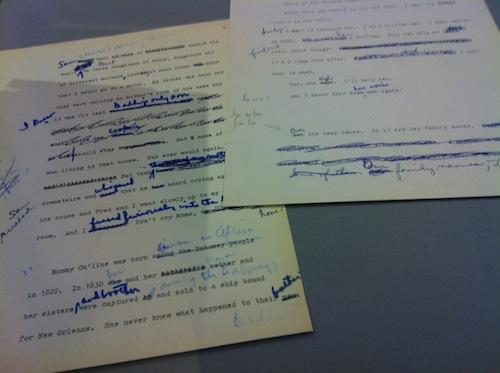 Clifton manuscript with edits by Toni Morrison.