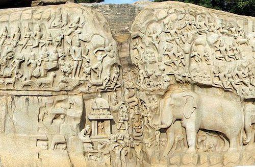 Bas-relief representing the Descent of the Ganges or the Arjuna's Penance, Mahabalipuram, India