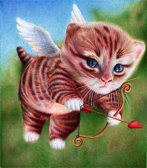 cupid_kitten___ballpoint_pen___st_valentine_s_day_by_vianaarts-d4zzw85