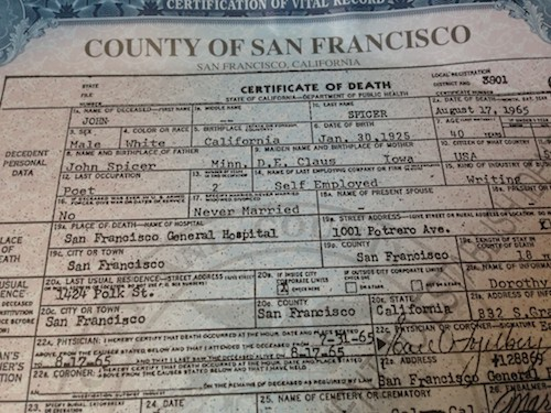 """Jack Spicer's death certificate. """"Easy on squeezing/ Frost off the pumpkin/ J. Spicer fecit/ Man, but don't break it."""""""
