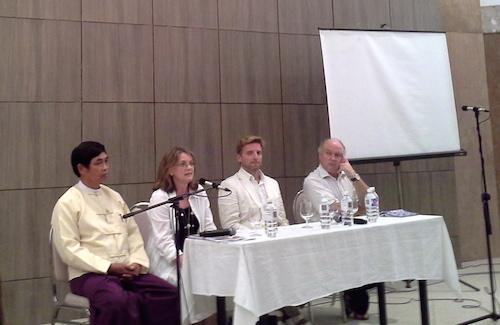 From left to Right: Dr Aung Myint, Jane Heyn, Rupert Arrowsmith, Louis de Bernieres.