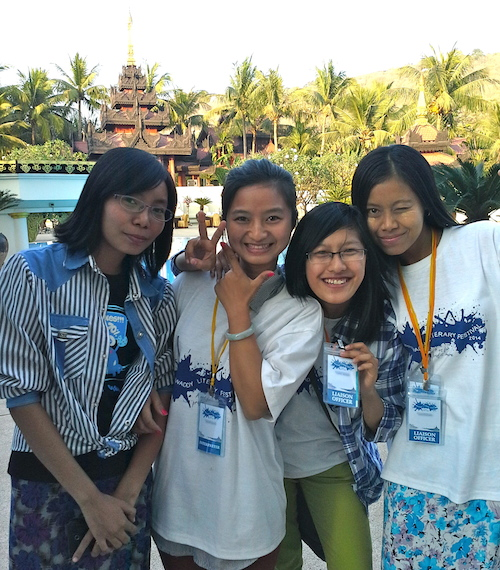 Student volunteers at the 2014 Irrawaddy Literary Festival.