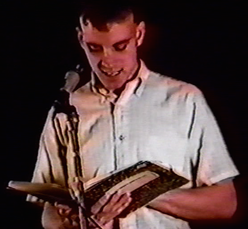 """Ed Smith reading """"Return to Lesbos"""" at Beyond Baroque, 1982."""