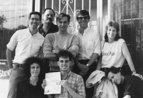 Group shot after a poetry reading, March 17, 1985, Silver Lake, Los Angeles.  First row (left to right): Amy Gerstler, Ed Smith, Bob Flanagan.  Second row (left to right): unknown, Michael Silverblatt, Mark McLaughlin, David Trinidad, Sheree Rose.