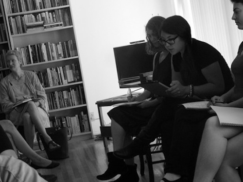 Janice reads.  (I have a fever). Photo by Harold Abramowitz.