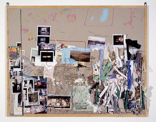 5. Tischmatte, Bali-Mosfellssveit, 1994—1996 Collage of pencil, water colour, acrylic and oil paint, indian ink, marker, photos, scrap and drawing tools on grey cardboard mounted on plywood 85 x 105 cm / 33 1/2 x 41 3/8 in