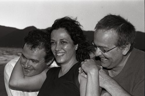 Francisco Faria, Josely Vianna Baptista, and Chris Daniels on the beach near Pántano do Sul (photo by João Urban)