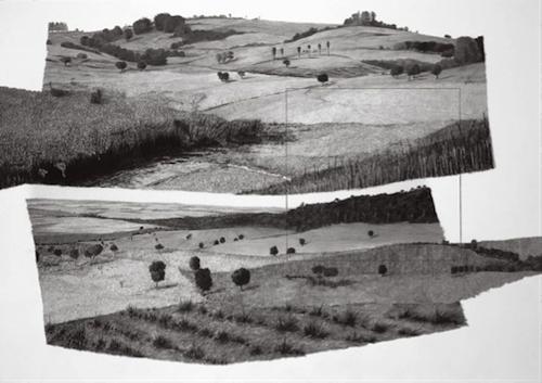 Francisco Faria. Refiguration on Pontal do Paranapanema 1,  1999. Graphite on paper, 70 x 100 cm.