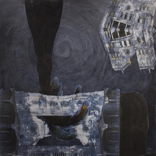 """""""Why Must I Wait For Night?"""" (2013) by Dan Taulapapa McMullin. Pencil, oil, and mylar photo-collage on canvas."""