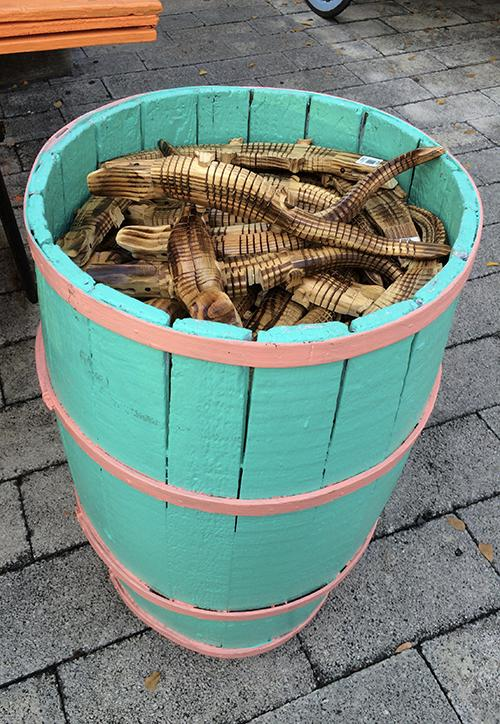 Barrel of wooden alligators in Key West, FL