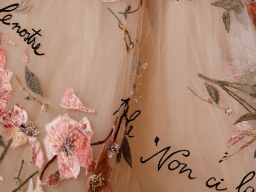 "Detail from Valentino S/S 2015 dress, embroidered with lines from Jacques Prevert's ""This Love."""