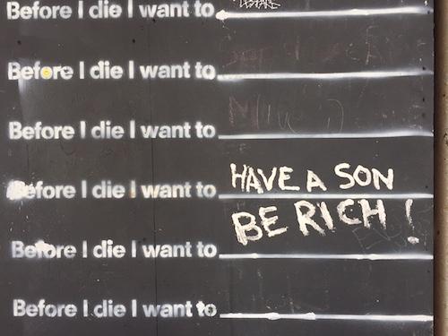 """Before I Die I Want to"" chalk board"